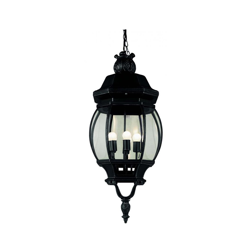 Transglobe Lighting 4067 BK Outdoor Hanging Pendant with Beveled Glass Shades, Black Finished by Trans Globe Lighting