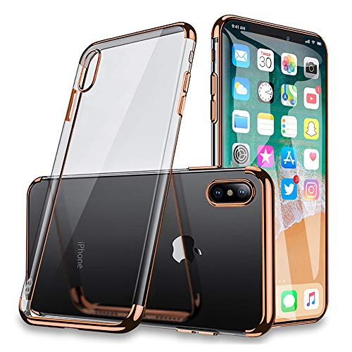 GradCap iPhone Xs Max Chrome Case, Electroplating Case for iPhone Xs Max, Ultra-Slim Transparent Crystal Clear Anti-Yellowing Soft Gel Cover for Apple iPhoneXSMax (Clear Back + Rose Gold Frame)