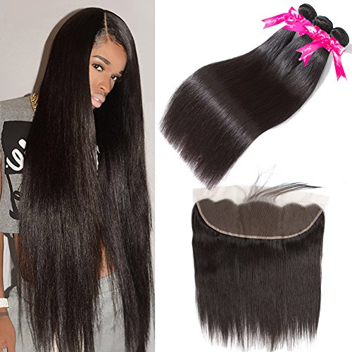 Pizazz 8A Brazilian Straight Hair Lace Frontal Closure with Bundles Natural Black Straight Human Hair Weave 3 Bundles With Closure (16 18 20+14)