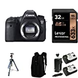 Canon EOS 6D Digital SLR Camera Body with 32GB Memory Card, Extra Battery, Bag and Manfrotto Tripod