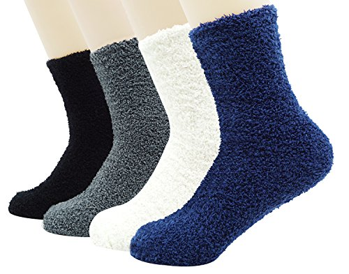 Unisex Fuzzy Microfiber Socks 4 Pack Thick Warm Comfort Crew Fashion Socks, Style 1 by Bienvenu (Image #1)