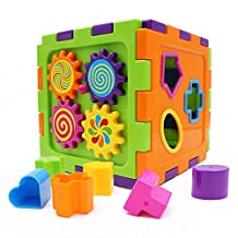 Wishtime Baby Toys Activity Cube Baby's First Blocks Geometric Square Shape Sorting Cube