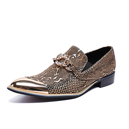 GLSHI 2018 New Men's Shoes Leather Spring Summer Rivets Fashion Hairstylist Tide Shoes Low-Top Loafers & Slip-Ons Metallic Toe For Casual Party & Evening (Color : A, Size : 44)