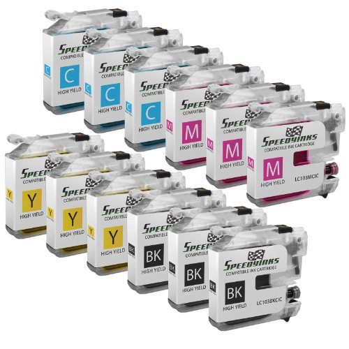 Speedy Inks – Compatible Ink Cartridge for Brother LC-103 LC103 (3 Black 3 Cyan 3 Magenta 3 Yellow) 12 Pack for MFC Multifunction Printers MFC-J4310DW MFC-J4410DW MFC-J4510DW MFC-J4610DW MFC-J4710DW MFC-J470DW MFC-J475DW MFC-J870DW MFC-J875DW + Free 20 pack of 4×6 photo paper, Office Central