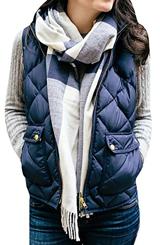 FISACE+Women%27s+Stand+Collar+Basic+Solid+Quilted+Padding+Vest+Jacket+Coats