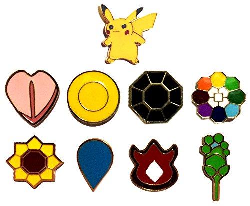 Pokemon Go Indigo League Gen 1 Kanto Gym Battle Golden HQ Pin Badges Complete Set
