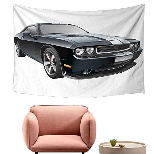 Agoza Simple Tapestry Cars Black Modern Pony Car with White Racing Stripes Coupe Motorized Sport Dragster Beach Tapestry 74