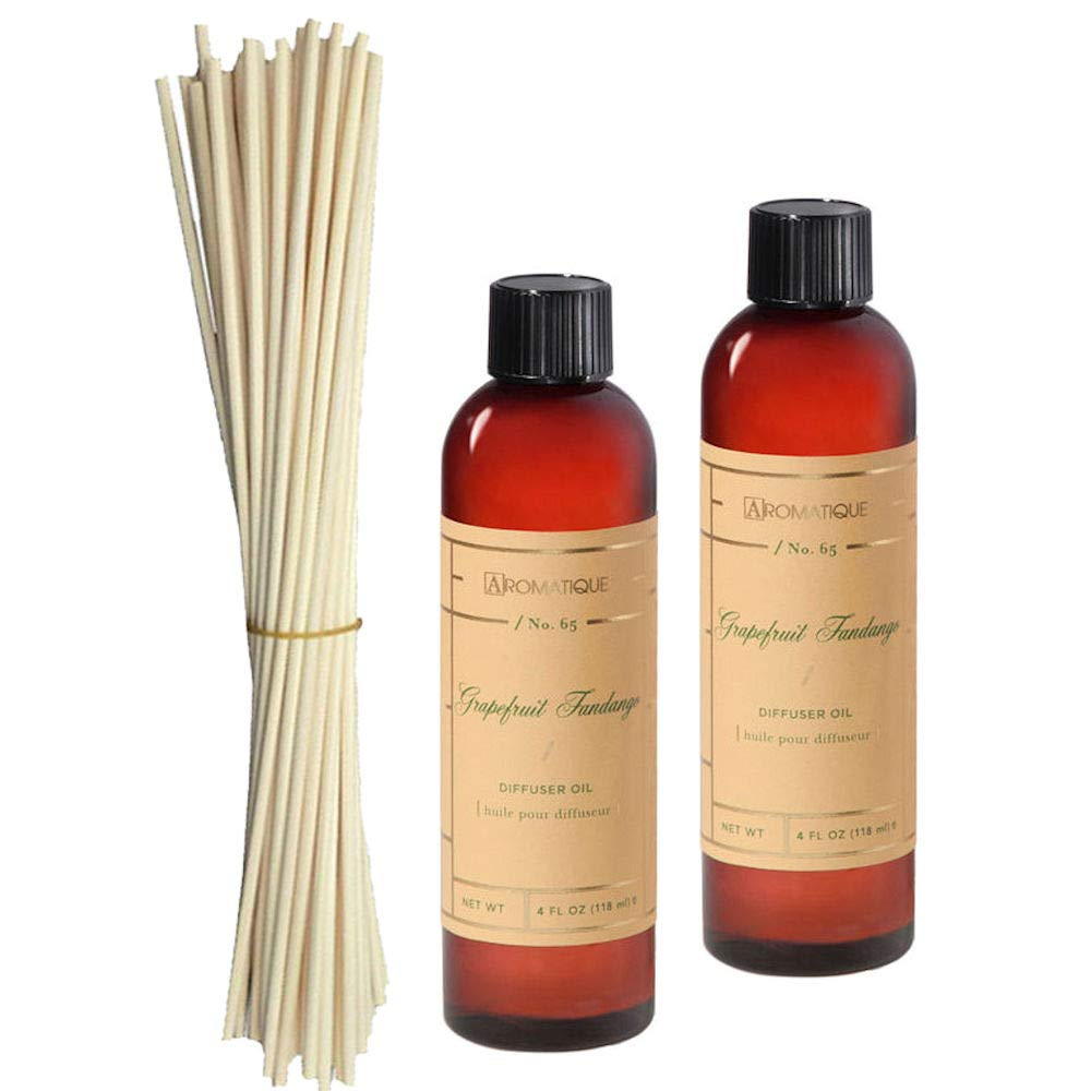 Aromatique Two (2) 4 Oz Diffuser Refill Oils in Grapefruit Fandango Plus Bundle of Eighteen 10'' Reeds