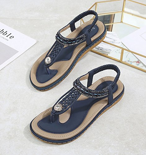 Aqua Summer Bohemia Woven Flat Bottom Casual Fashion Sandals Blue GOlhxbjsF