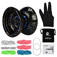 MAGICYOYO N11 Plus, 5 Strings, 1 Glove, 1 Bag, Aluminum Alloy Professional Yoyo Ball with Weight Ring, Black Blue Golden Unique 3 Color YOYO