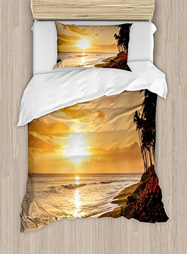 Hawaiian Duvet Cover Sets Full, Warm Tropical Sunset on Sands of Kaanapali Beach in Maui Hawaii Traveling 4 Pieces Bedding Set Bedspread with 2 Pillowcases for Boys Girls Kids Teens Adults