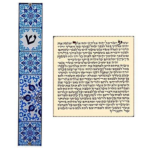(Talisman4U Jewish MEZUZAH CASE with Prayer Scroll Blue Pomegranates Design Art Judaica Gift Door Mezuza Made in Israel)