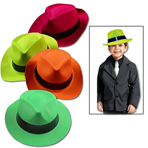 Toy Cubby Bright Plastic Panama Gangster Neon Farbeed Hats 24 Pcs by Toy Cubby