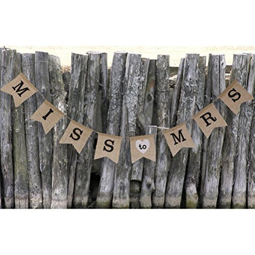 Bridal shower decorations amazon pixnor miss to mrs natural burlap banner for party decoration junglespirit Choice Image