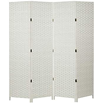 MyGift Folding Wood Room Divider, Standing 4-Panel Woven Privacy Screen, White
