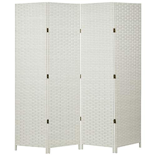 (MyGift Folding Wood Room Divider, Standing 4-Panel Woven Privacy Screen, White)