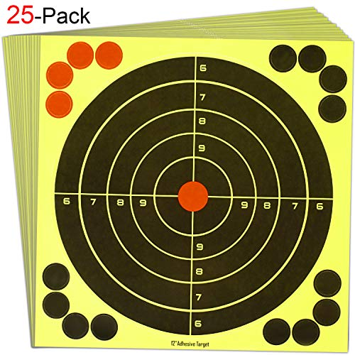 (EWETON 25PCS 12 Inch Reactive Splatter Shooting Targets Practice Paster, Sports Outdoor Silhouette Self Adhesive Bullseye Target Training for Shooting Games, Handgun, Firearms, Arrows, Darts, Archery)