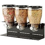 Zevro KCH-06150 Commercial Plus Dry Food Dispenser, Triple Canister, Stainless Steel, Black/Chrome