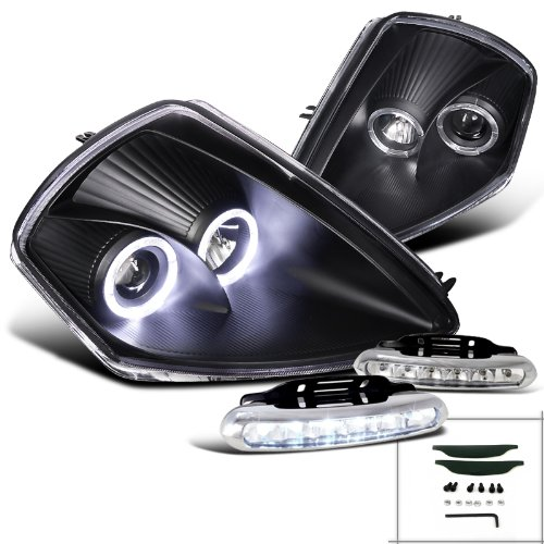 Mitsubishi Halo Projector (Eclipse Black Dual Halo Projector Headlight, Bumper Led Fog Lamp Drl)