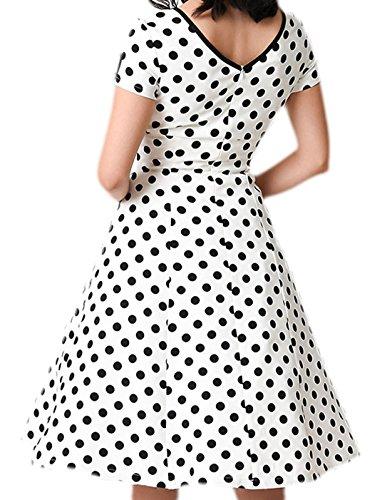 erdbeerloft - Vestido - Opaco - para mujer Weiß- Schwarz