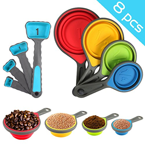 Nlife 8pcs Collapsible Silicone Measuring Cups Measuring Spoons Perfect for Pet Food, Coffee, Supplements, Flour, Grains, Lentils, Spices, Honey, and (Collapsible Cups Set)