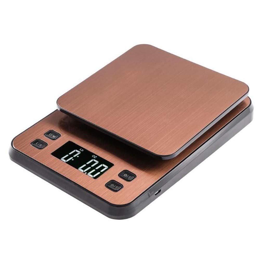 ZHANGYUGE 3 kg/0,1G LCD-Digital-elektronische Küchenwaage Kaffee Skala Timer Gewicht Balance mit USB-Stromversorgung