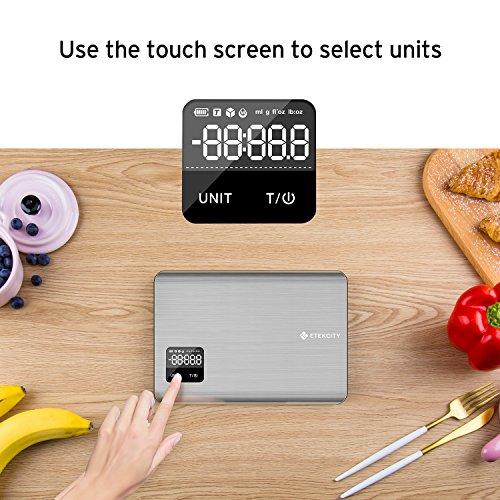 Etekcity EK7017 Digital Kitchen Multifunction Touch Scale, 11 lb 5 kg, Food Grade 304 Stainless Steel (Batteries Included), Large, Silver by Etekcity (Image #5)