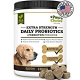 Probiotics for Dogs with Prebiotics + 6 Natural Digestive Enzymes, Advanced Strength for Healthy Gut, Immune Boost, Diarrhea Relief, Dog Probiotic Supplement, USA Made, 120 Chews