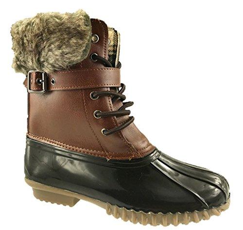 Mc Footwear Ladies Walking Hiking Waterproof Winter Rain Snow Ankle Boots Shoes Size UK 3-9 Brown