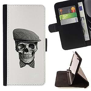Momo Phone Case / Flip Funda de Cuero Case Cover - Cráneo Gentleman;;;;;;;; - Samsung Galaxy A5 ( A5000 ) 2014 Version