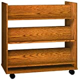 Ironwood Book Truck with 6 Shelves, Amber Ash