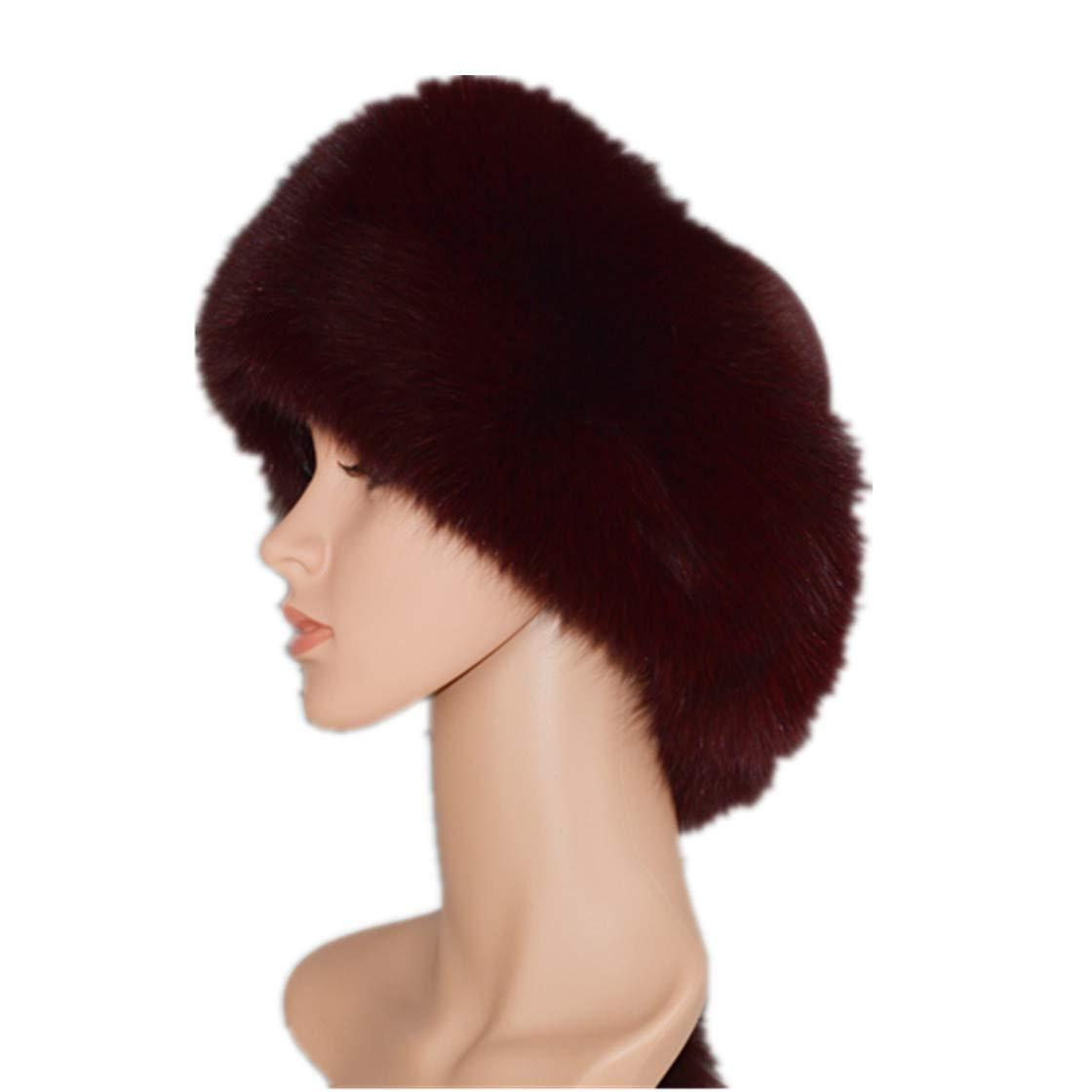 Women Fox Fur Hat Bomber Hats for Winter Windproof Cap