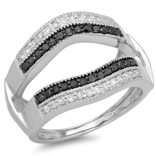 Dazzlingrock Collection 0.55 Carat (ctw) 10K Round Black & White Diamond Ladies Double Row Anniversary Wedding Band Millgrain Guard Double Ring 1/2 CT, White Gold, Size 6 (Anniversary Ring Diamond Row)