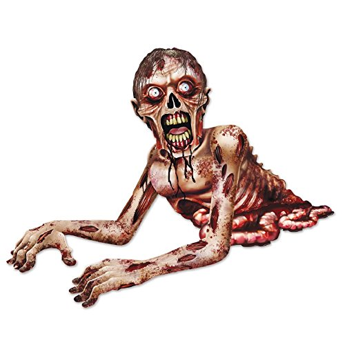 Club Pack of 12 Jointed Spooky Zombie Crawler Halloween Hanging Decorations 4.5' -