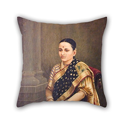 Wbsdfken Throw Pillow Case of Oil Painting Raja Ravi Varma - Portrait of A Lady 16 X 16 Inches / 40 by 40 cm Best Fit for Relatives Drawing Room Son Home Lounge Office (Raja Ravi Varma Portrait Of A Lady)