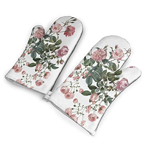Roses Rosebuds Flowers Oven Mitts Cooking Gloves 480 F Heat Resistant, Non Slip Grip Pot Holders Kitchen Oven BBQ Grill Fire Pits Cooking Baking (Fire Flower Pit)