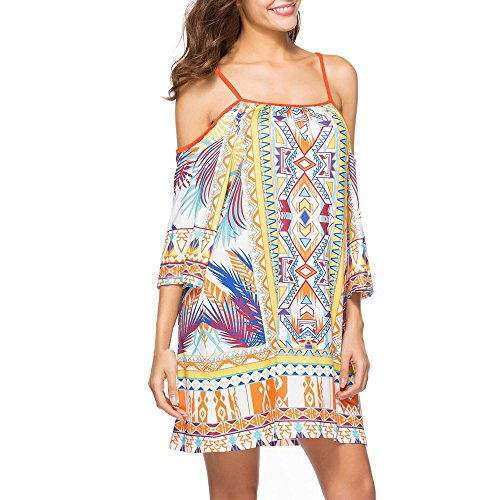 ♡ Londony ♡ Women's Bohemian Floral Printed Wrap Dress Off Shoulder Loose 3/4 Sleeve Ruched Tops Beach Party Dress Yellow