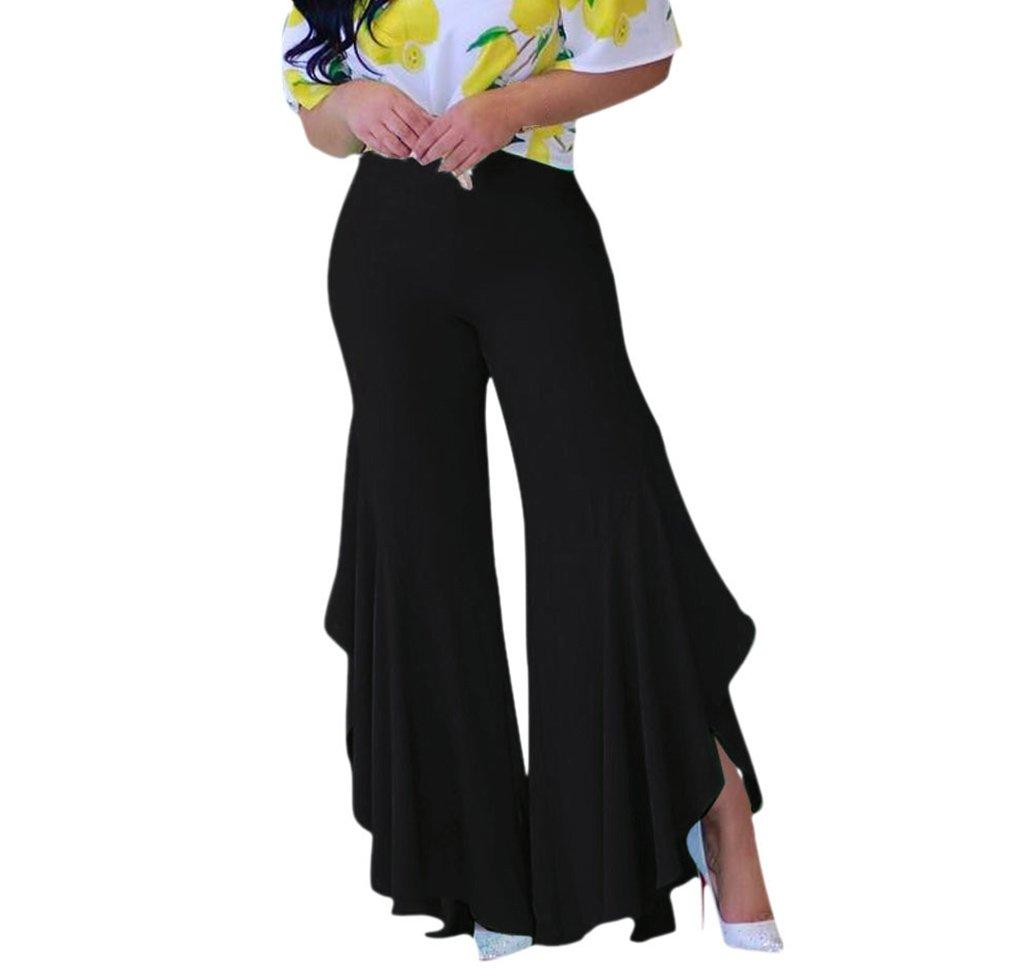 Womens Soft Chic Fit Flared Slit Bell Bottom Long Pants Black L