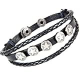 Best Leather Bracelets For Gay Lesbians - Coolla Fashion Style Wristband Cuff Men leather Bracelet Review