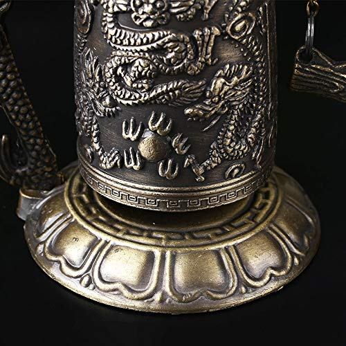LXYFMS Lucky Chinese Buddhist Temple Dragon Copper Carved Lotus Buddha Statue Copper Dragon Bell Alloy 9x9x12.5cm Crafts by LXYFMS (Image #6)