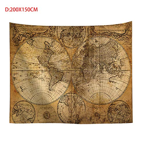 Redvive TopVintage World Map Wall Tapestries Hanging Hippie Tapestry Bedspread Yoga Mat New
