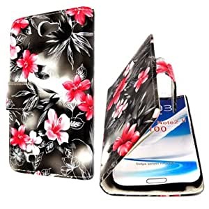 Mobile Extra Ltd™ For Samsung Galaxy Note II 2 N7100 New Pink Flower On Dark Gray Stylish Beautiful Printed Leather Side Book Flip Case Cover