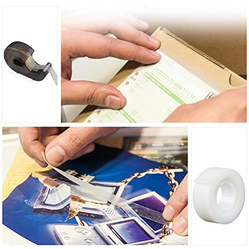 12 Rolls Invisible Tape Set, Vankcp Hand Tearing Magic Invisible Tape and 1 Non-Skid Desktop Tape Dispenser for Home, School, Office by Vankcp (Image #5)