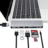 HyperDrive Type C Adapter, Sanho SOLO 7-in-1 USB C Hub for MacBook Pro, PC w USB-C Port: USB-C 40Mbps 100W Power Delivery, USBC 5Gbps Data, 4K HDMI, microSD/SD Card Reader, 2xUSB 3.0 Ports, Audio Jack
