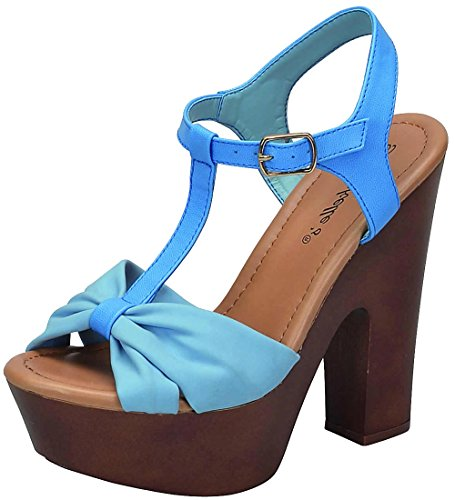 Breckelles Dames T-strap Strappy Strik Open Teen Chunky Platform Hak Sandaal Blauw *