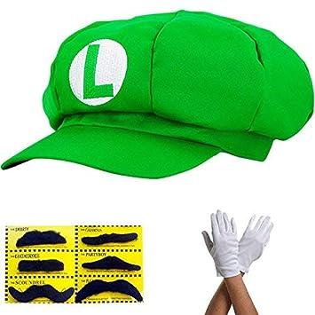 Super Mario Gorra Luigi - Disfraz para Adultos y niños en 4 Colores Diferentes + Guantes