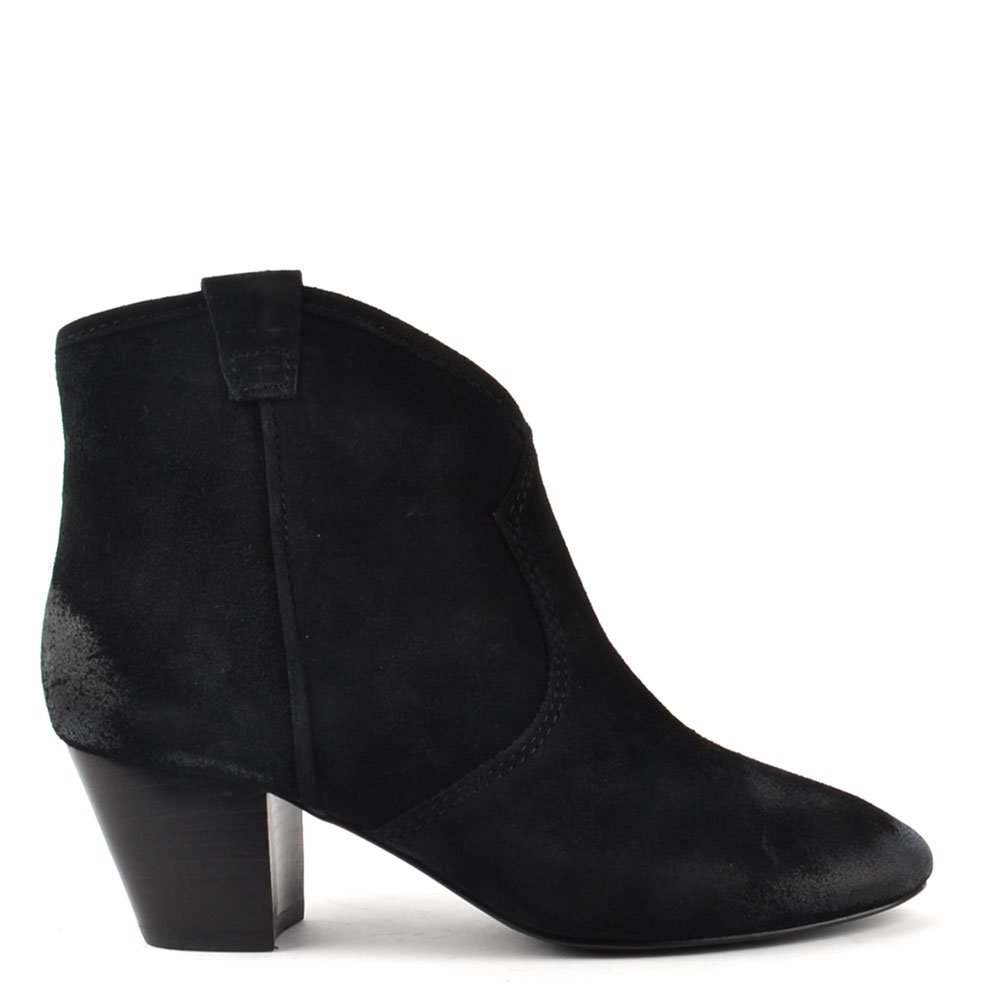 4ac90d29f82ec Ash Spiral Black Suede Western Style Ankle Boot Black 40  Amazon.co.uk   Shoes   Bags