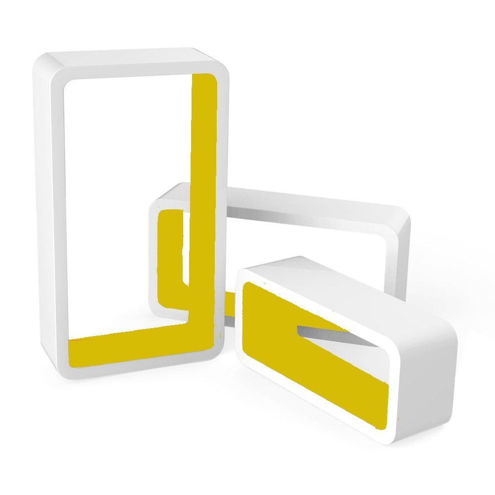 Luxury Set of 3 Cube Floating Shelves with Retro Design Wall Mounted Display Shelf White/Yellow Delex®