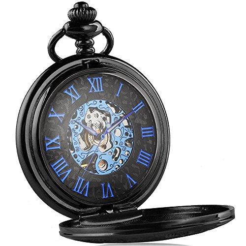 LYMFHCH Retro mechanical Pocket Watch Skeleton Hand-wind engraved Metal blue black LF-8031