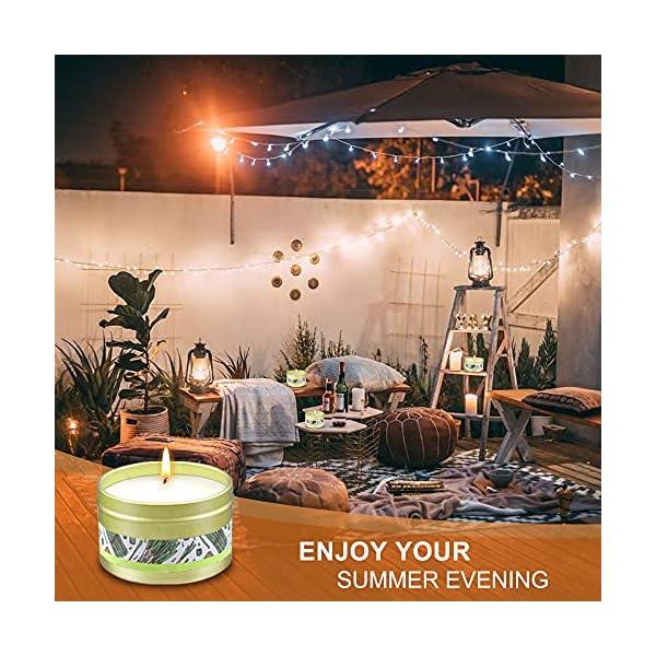 51ojDvdjinS Citronella Kerze Outdoor, 8 Stück Dufted Kerzen Set mit Deckel, 160Std Brenndauer aus Sojawachs und Citronella Öl…